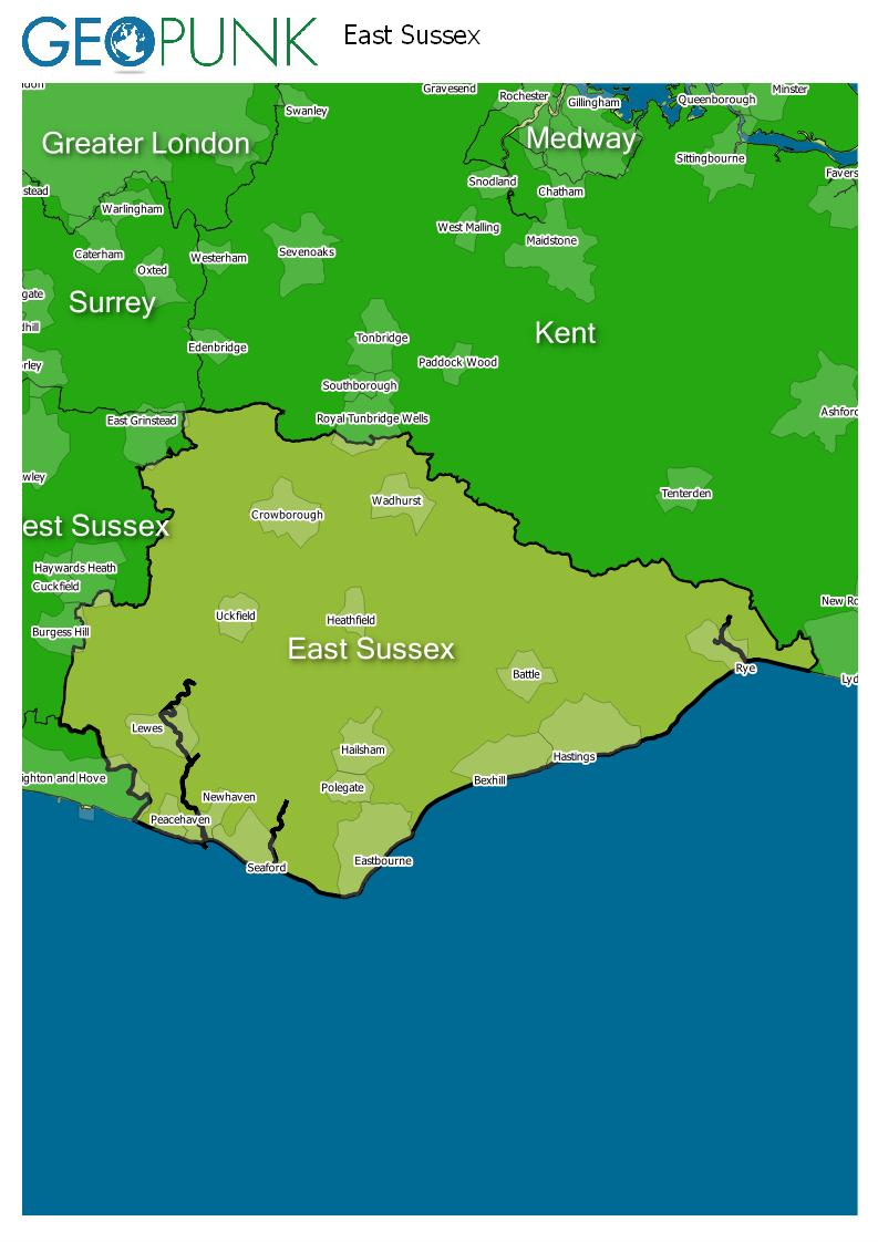 map of East Sussex