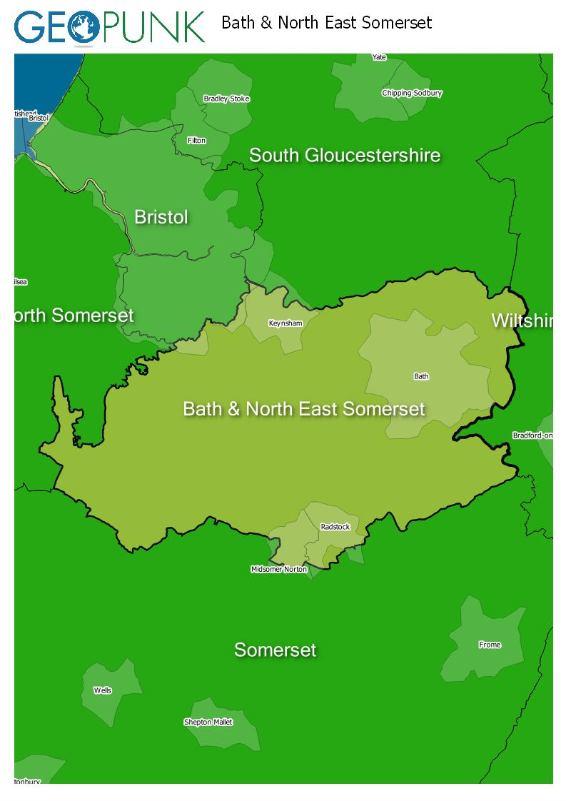 map of Bath & North East Somerset
