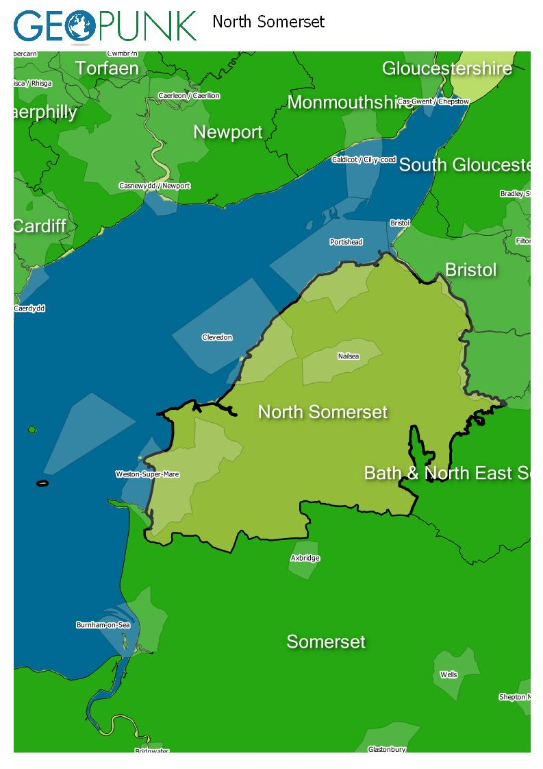 map of North Somerset