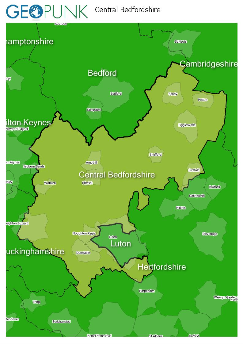 map of Central Bedfordshire