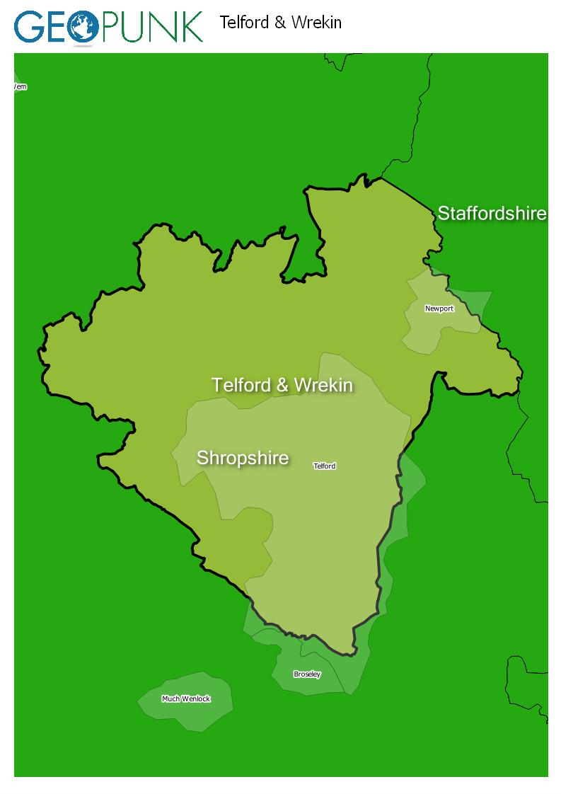 map of Telford & Wrekin