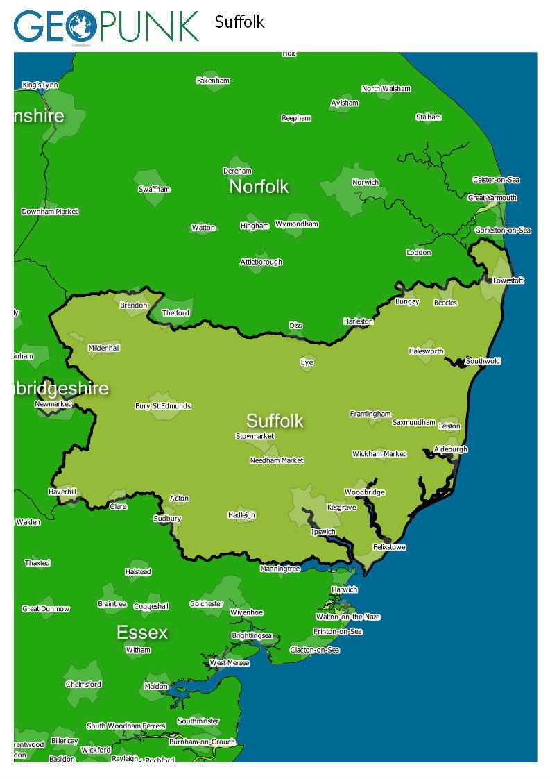 map of Suffolk