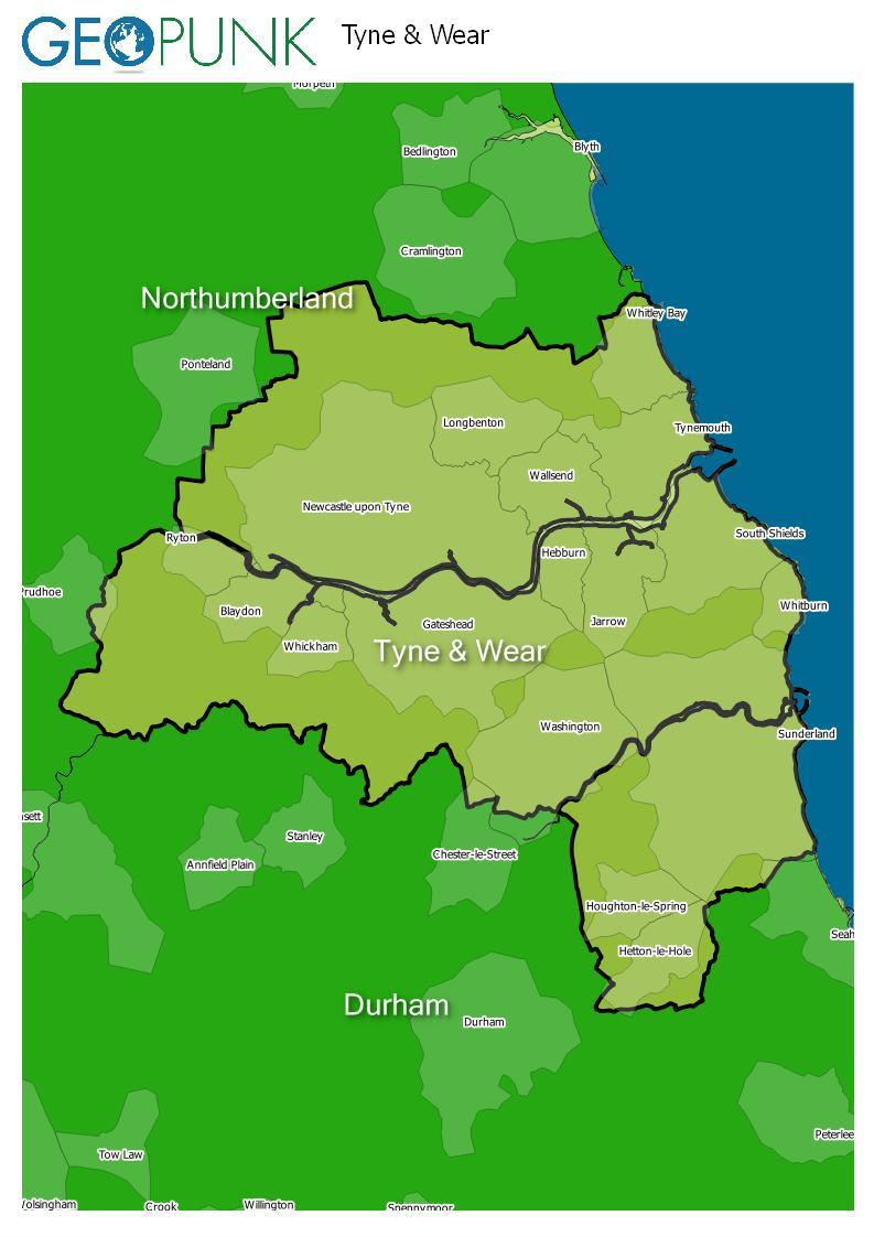 map of Tyne & Wear