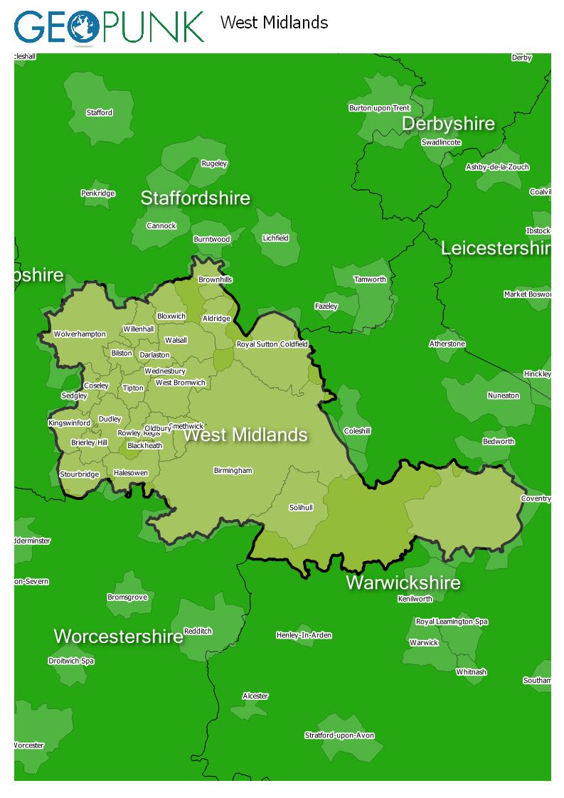 map of West Midlands