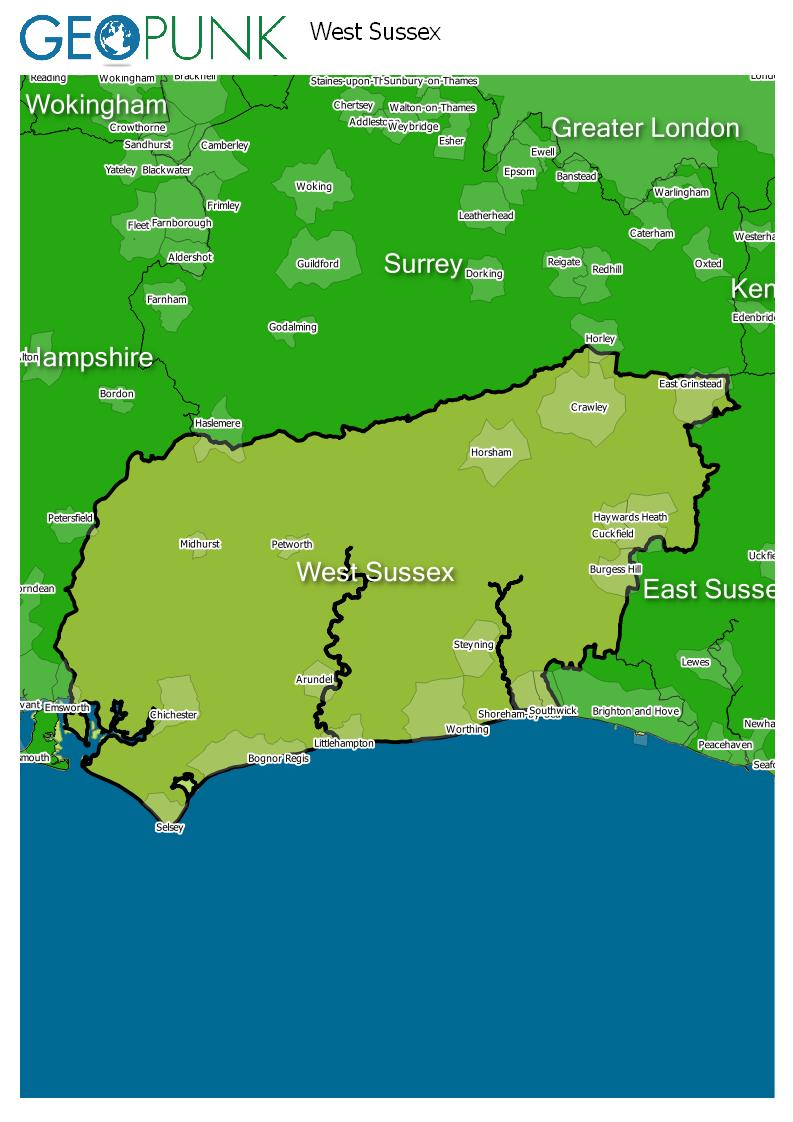 map of West Sussex