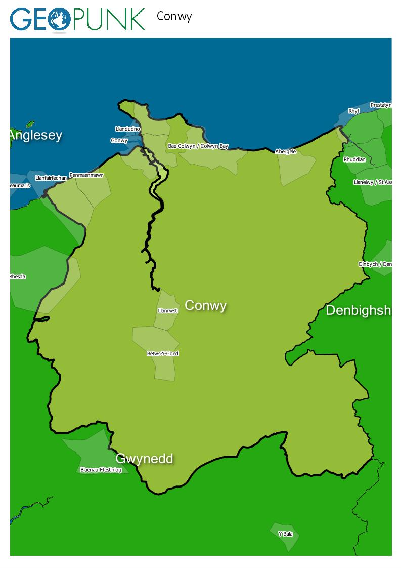 map of Conwy