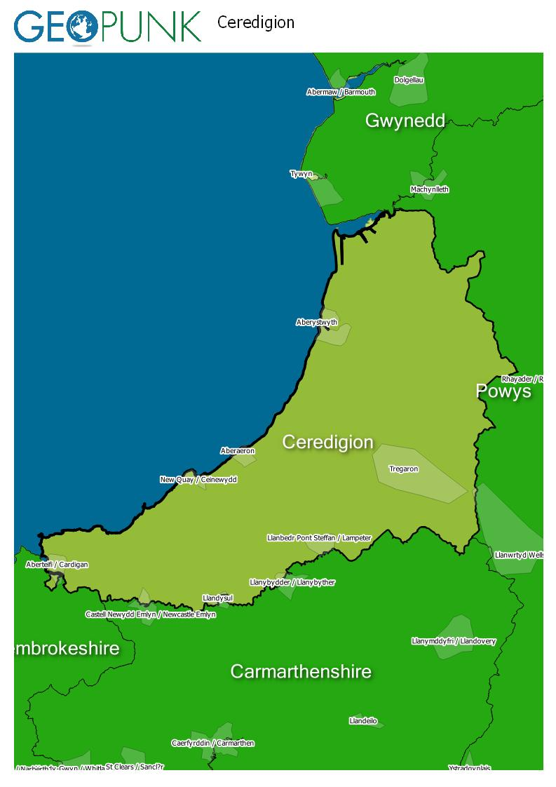 map of Ceredigion
