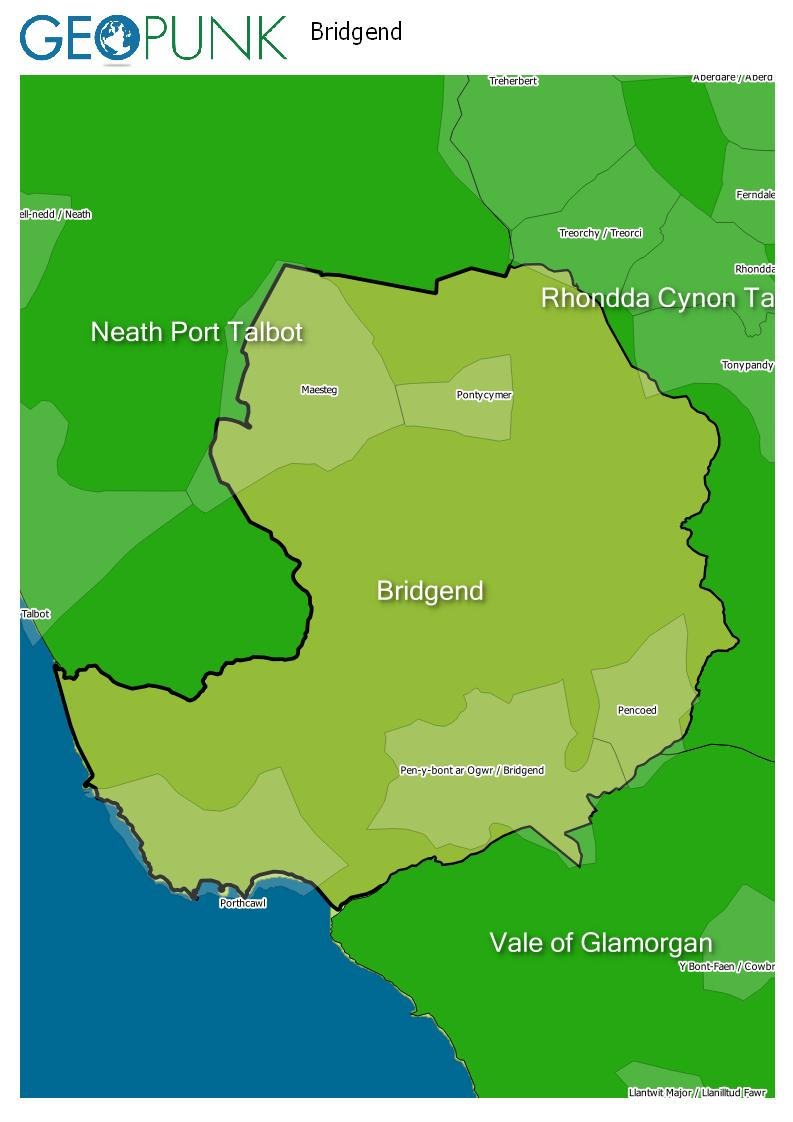 map of Bridgend
