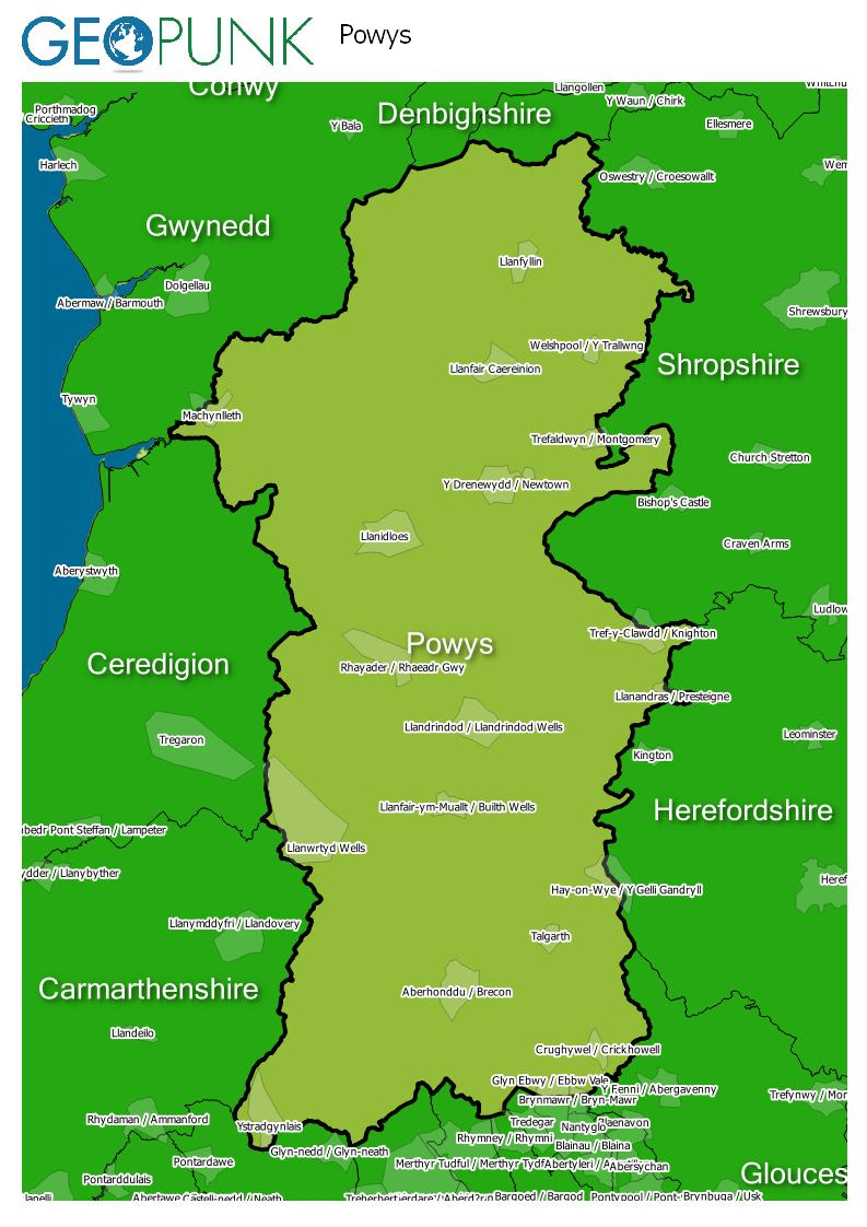map of Powys