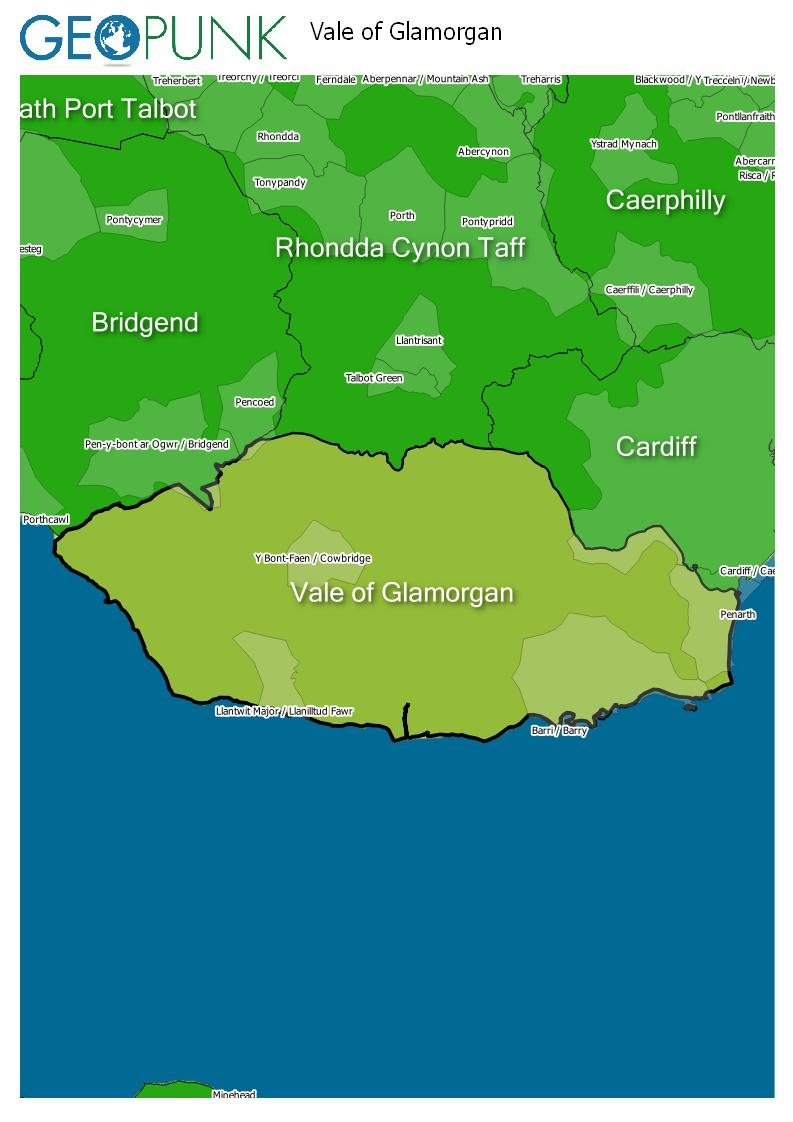 map of Vale Of Glamorgan
