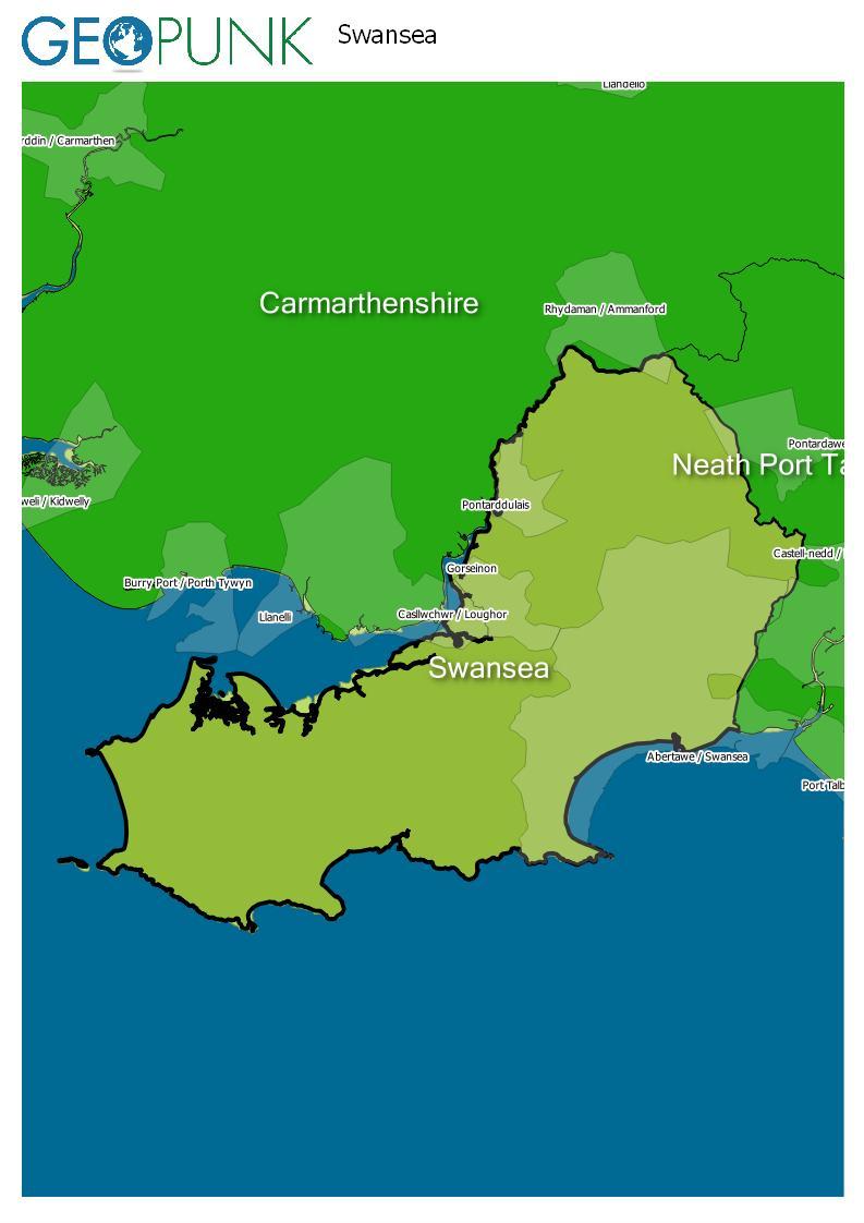 map of Swansea
