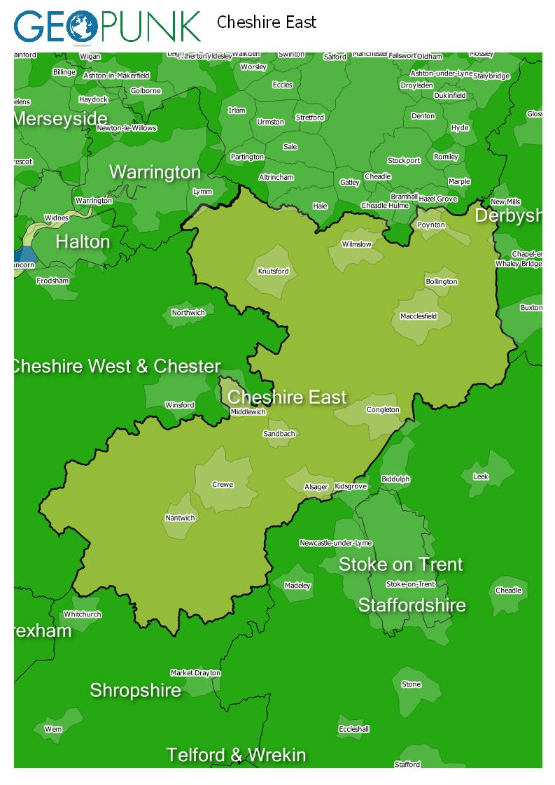 map of Cheshire East