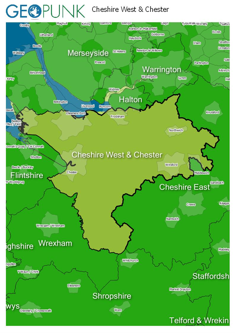 map of Cheshire West & Chester