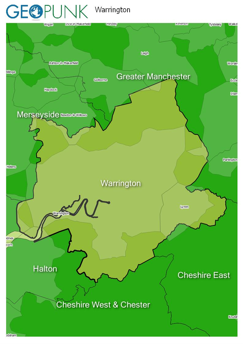 map of Warrington