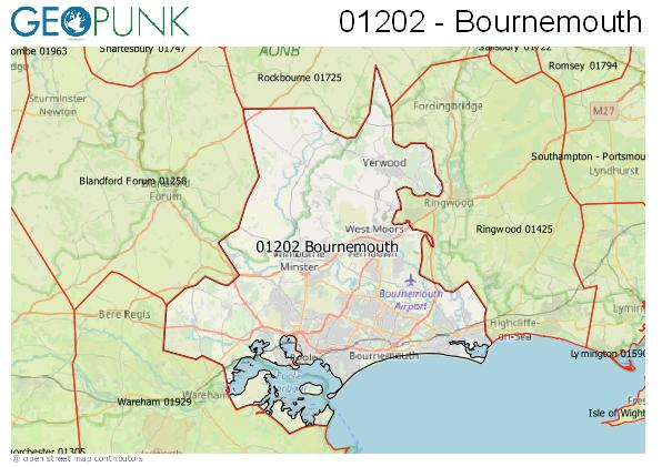 Map of the Bournemouth area code