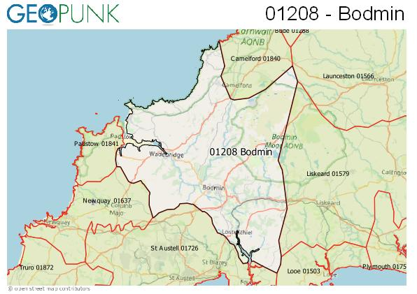 Map of the Bodmin area code