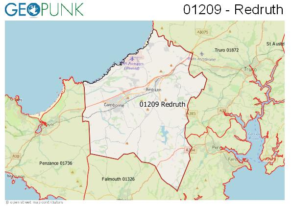 Map of the Redruth area code