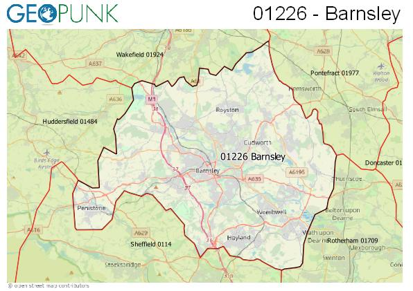 Map of the Barnsley area code