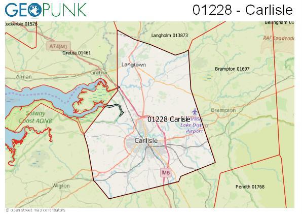 Map of the Carlisle area code