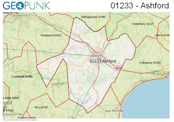 Map of the Ashford (Kent) area code