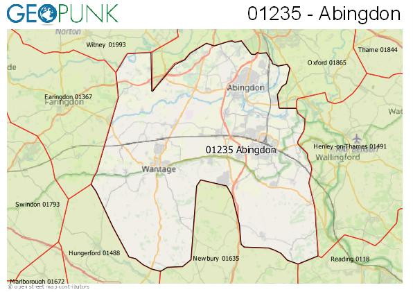 Map of the Abingdon area code