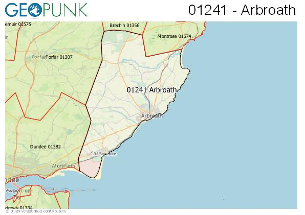 Map of the Arbroath area code