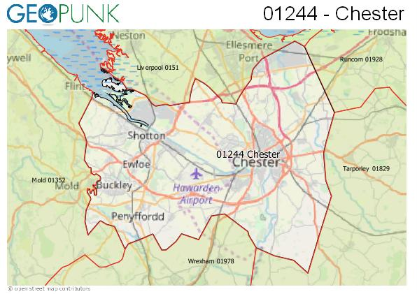 Map of the Chester area code