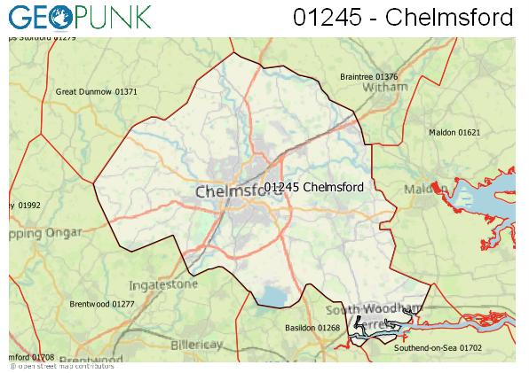 Map of the Chelmsford area code