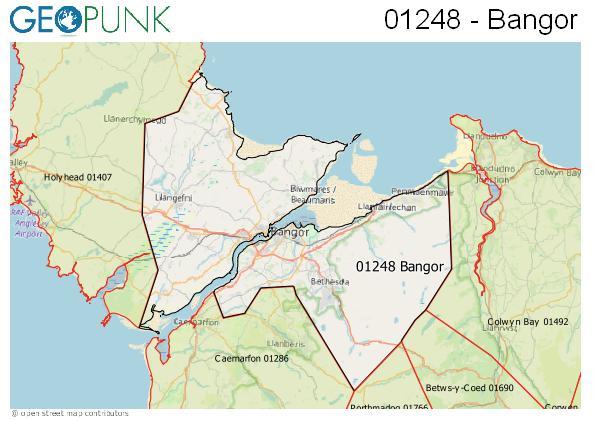 Map of the Bangor (Gwynedd) area code