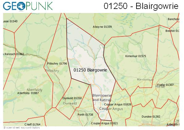 Map of the Blairgowrie area code