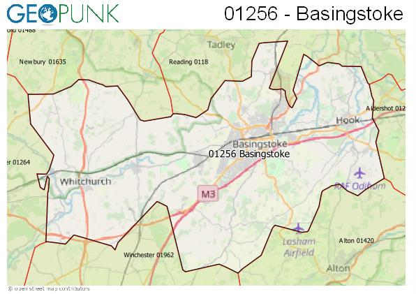 Map of the Basingstoke area code