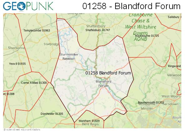 Map of the Blandford Forum area code