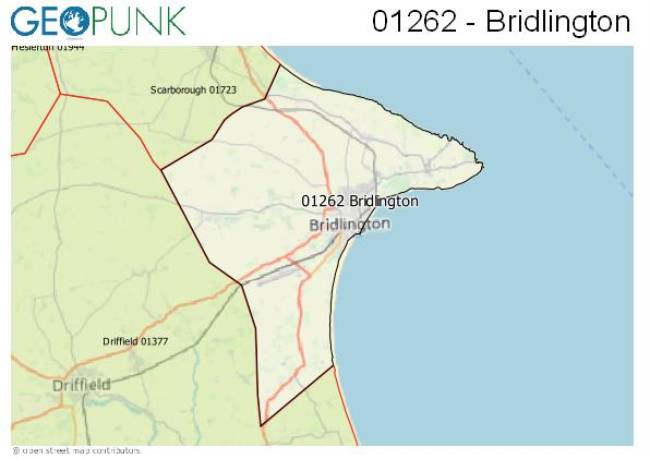 Map of the Bridlington area code