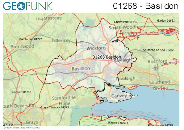 Map of the Basildon area code