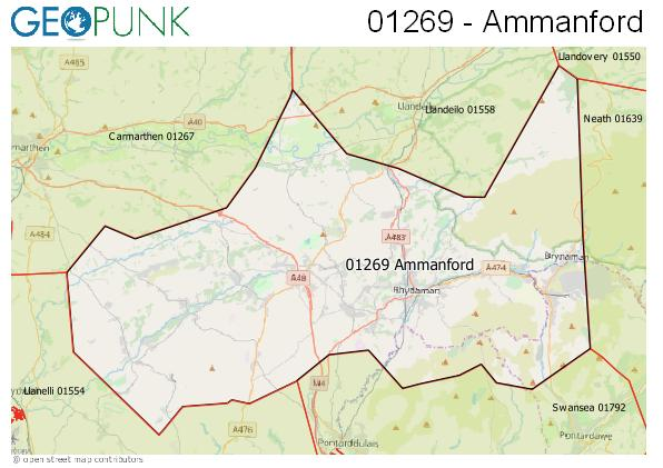 Map of the Ammanford area code