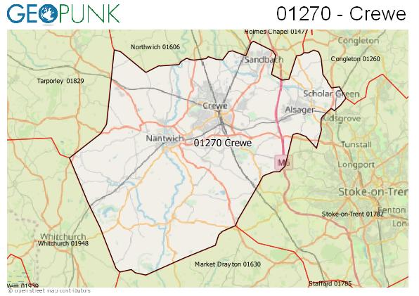 Map of the Crewe area code