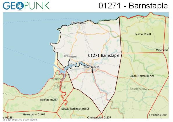 Map of the Barnstaple area code