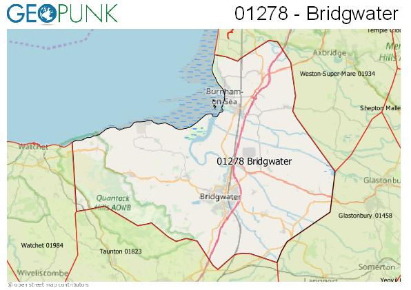 Map of the Bridgwater area code