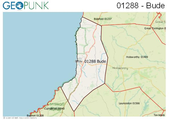 Map of the Bude area code