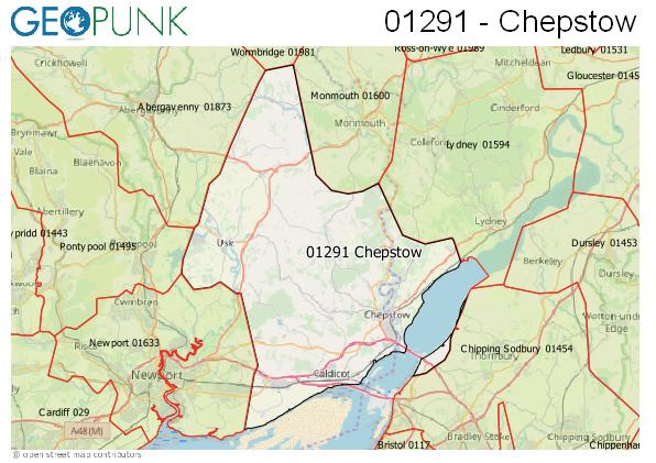 Map of the Chepstow area code