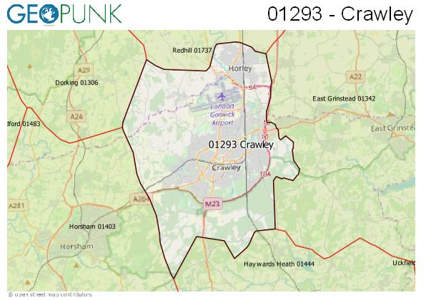Map of the Crawley area code