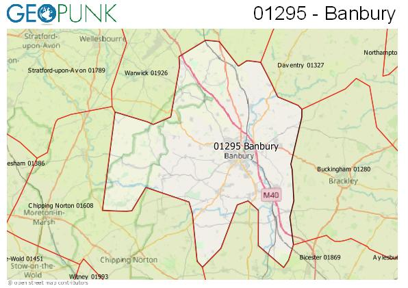 Map of the Banbury area code