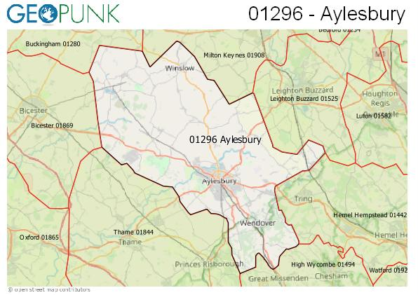 Map of the Aylesbury area code