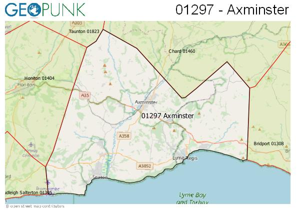 Map of the Axminster area code