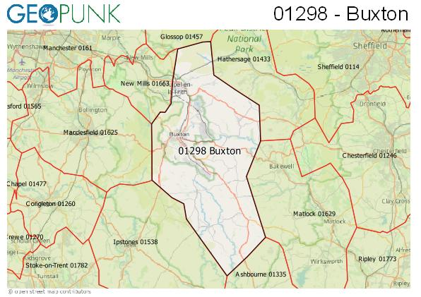 Map of the Buxton area code