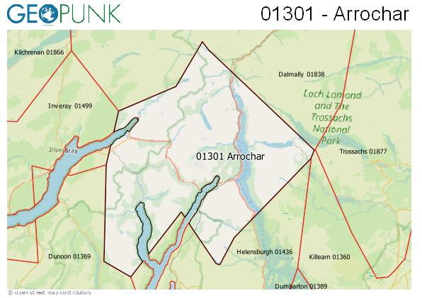 Map of the Arrochar area code