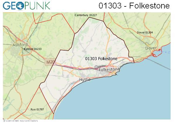 Map of the Folkestone area code