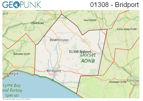 Map of the Bridport area code