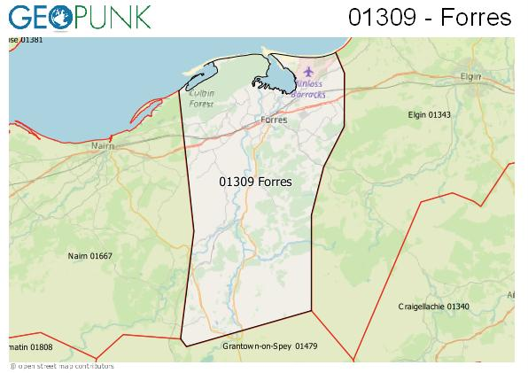 Map of the Forres area code
