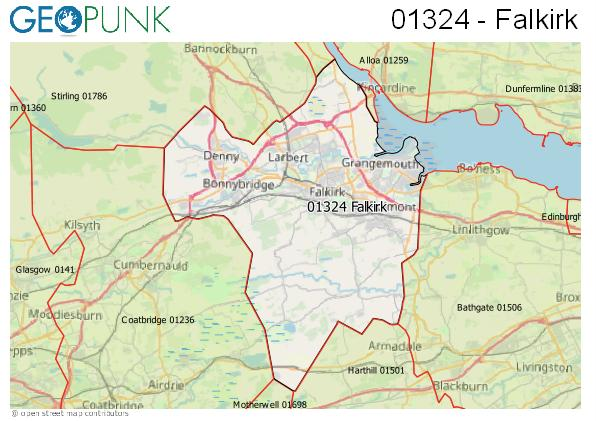 Map of the Falkirk area code